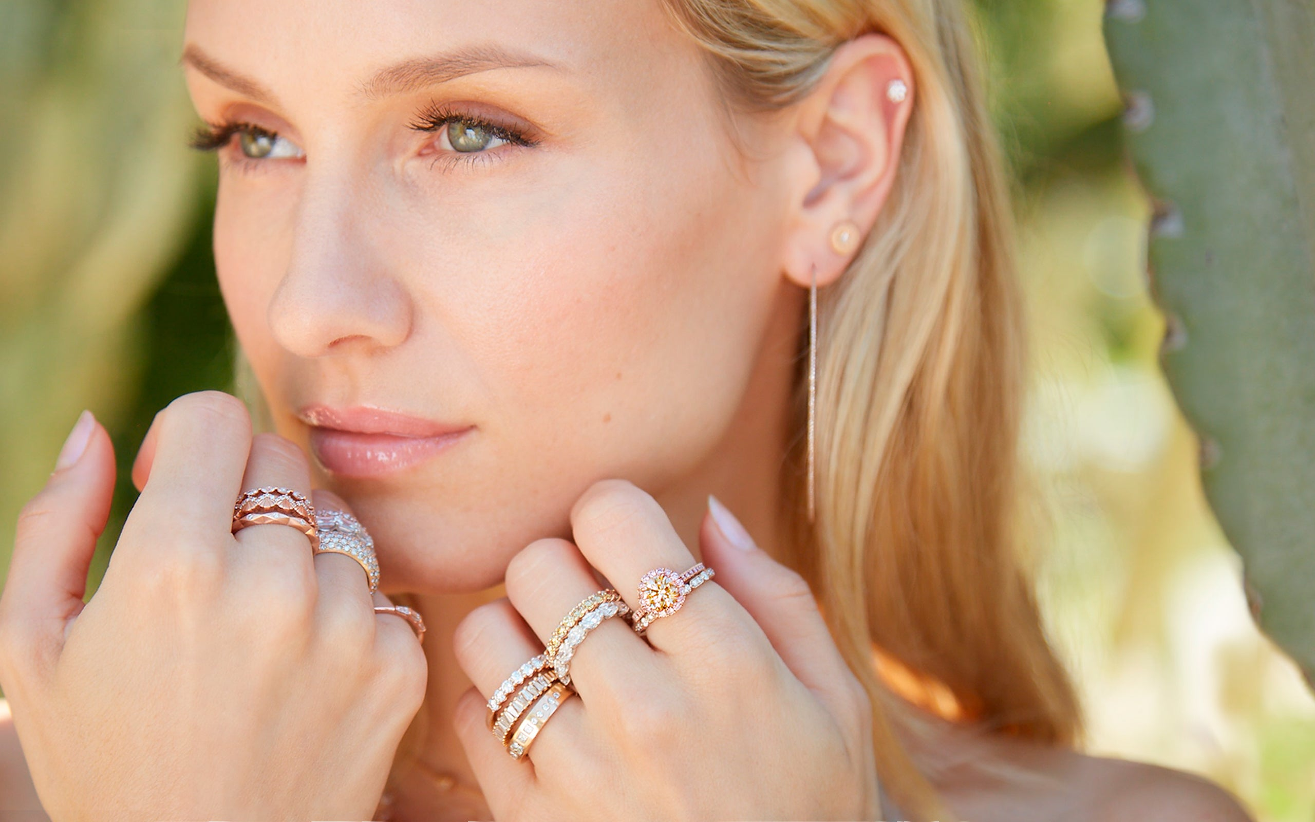 Model wearing our 24-piece rose gold Sweet Solace jewelry collection; phone 323-404-2959 if you need shopping assistance.