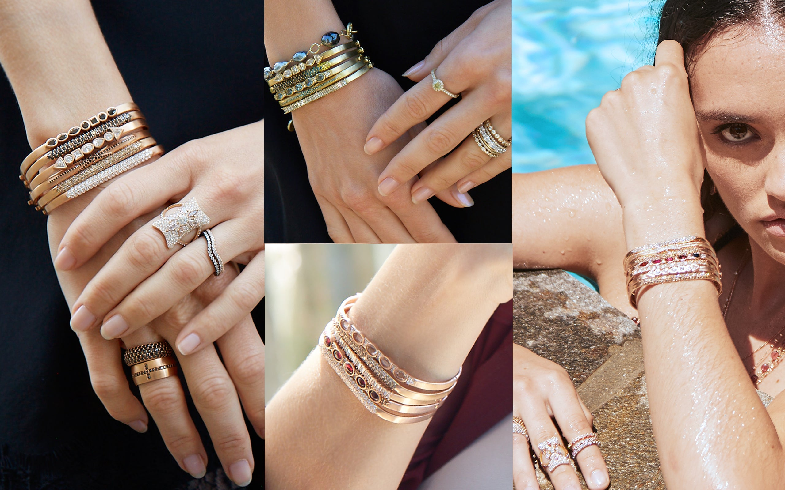 Four-photo montage of huggie bangle curated stacks; call 323-404-2959 if you need shopping assistance.