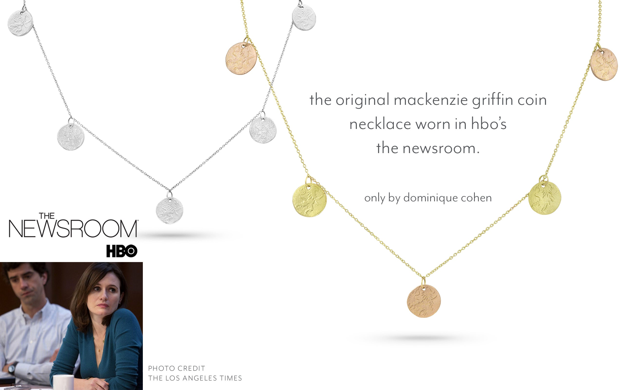 HBO The Newsroom still with Mackenzie McHale wearing our five-coin necklace; call 323-404-2959 if you need shopping assistance