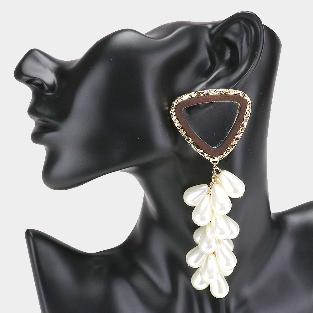 Lucite Pearl Cluster Earring's