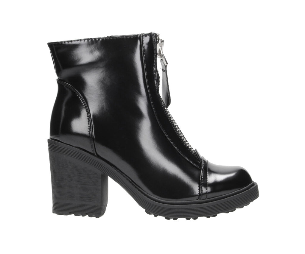 Damen Stiefelette in Lack Optik und Zipper