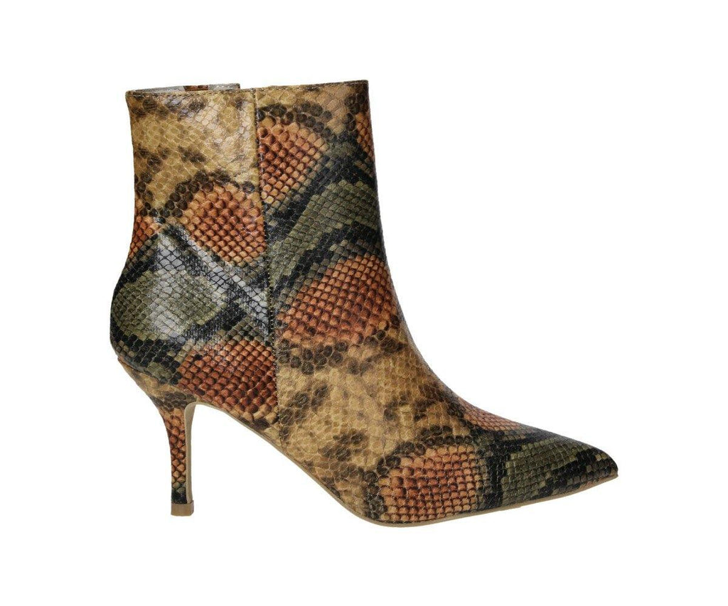 Damen Stiletto Stiefelette Spitz mit Snake-Optik