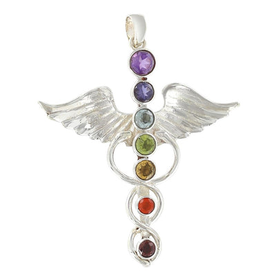 The Sterling Silver Chakra Caduceus Pendant