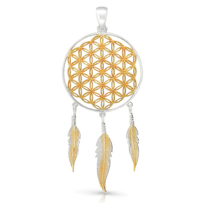 The Flower Of Life Dreamcatchter Pendant (Gold Plate)
