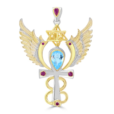 Egyptian Fire Pendant with Blue Topaz