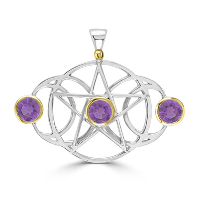 Triple Moon Pentacle with Amethysts