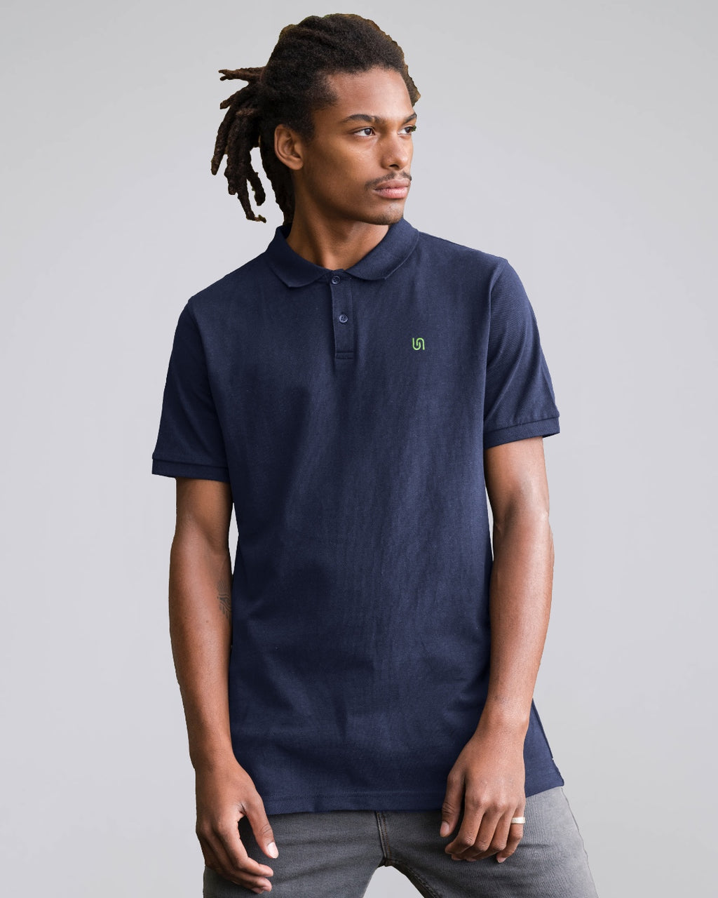 The Nut sustainable, vegan and plastic free polo shirt - colour: navy