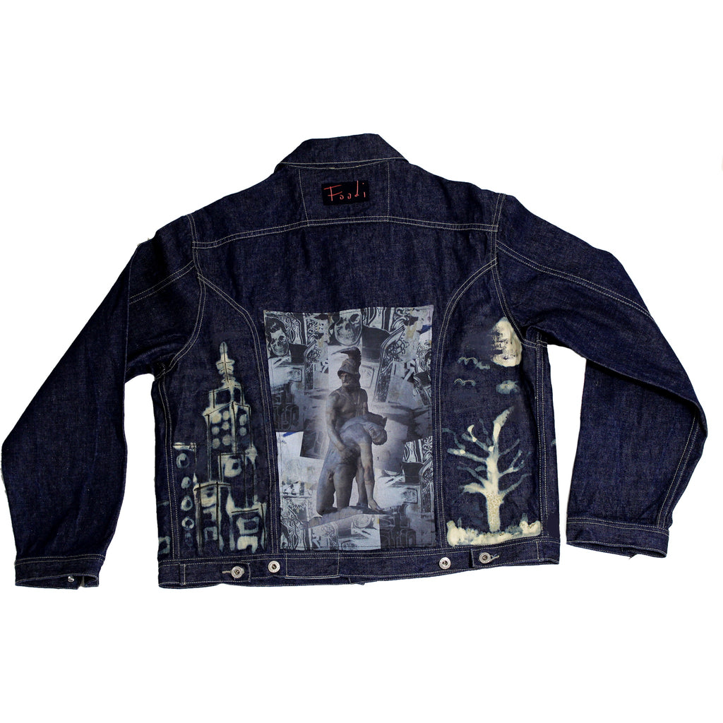 Protect your Neck - Upcycled vintage denim Jacket - Foodi