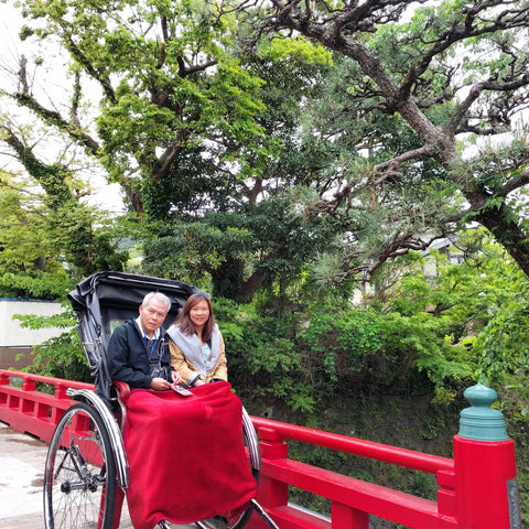 Ada and her dad, in a buggy in Japan