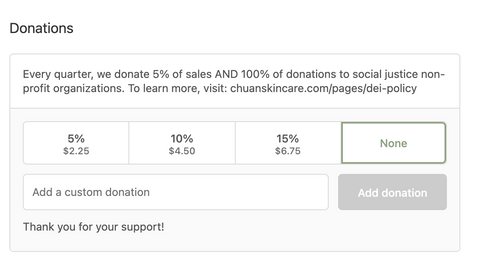 Donation section on the Chuan Skincare checkout screen