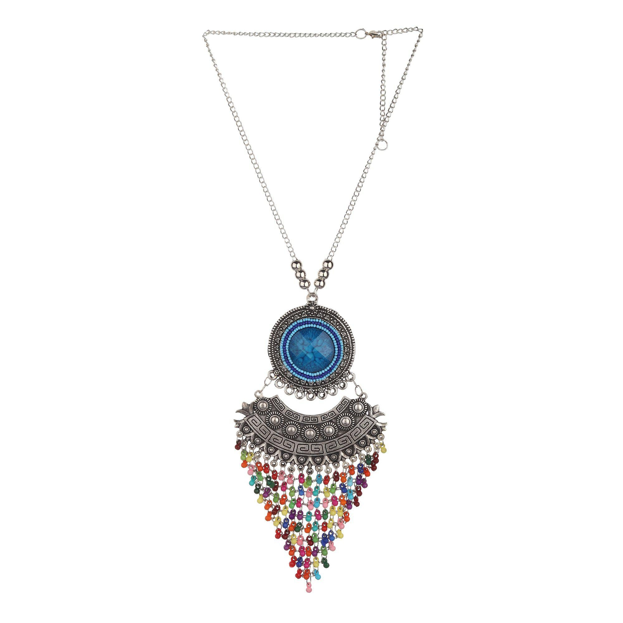 Sun With Chandbali Multicolored Tassel Necklace
