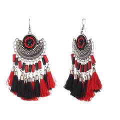 The Vintage Geometric Eclipsed Sun Tassel Earrings