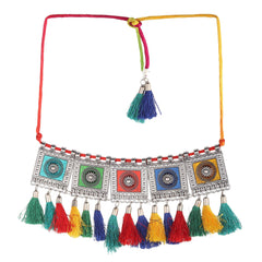Afghani Colourful Tassel Choker-Necklace-ONESKYSHOP