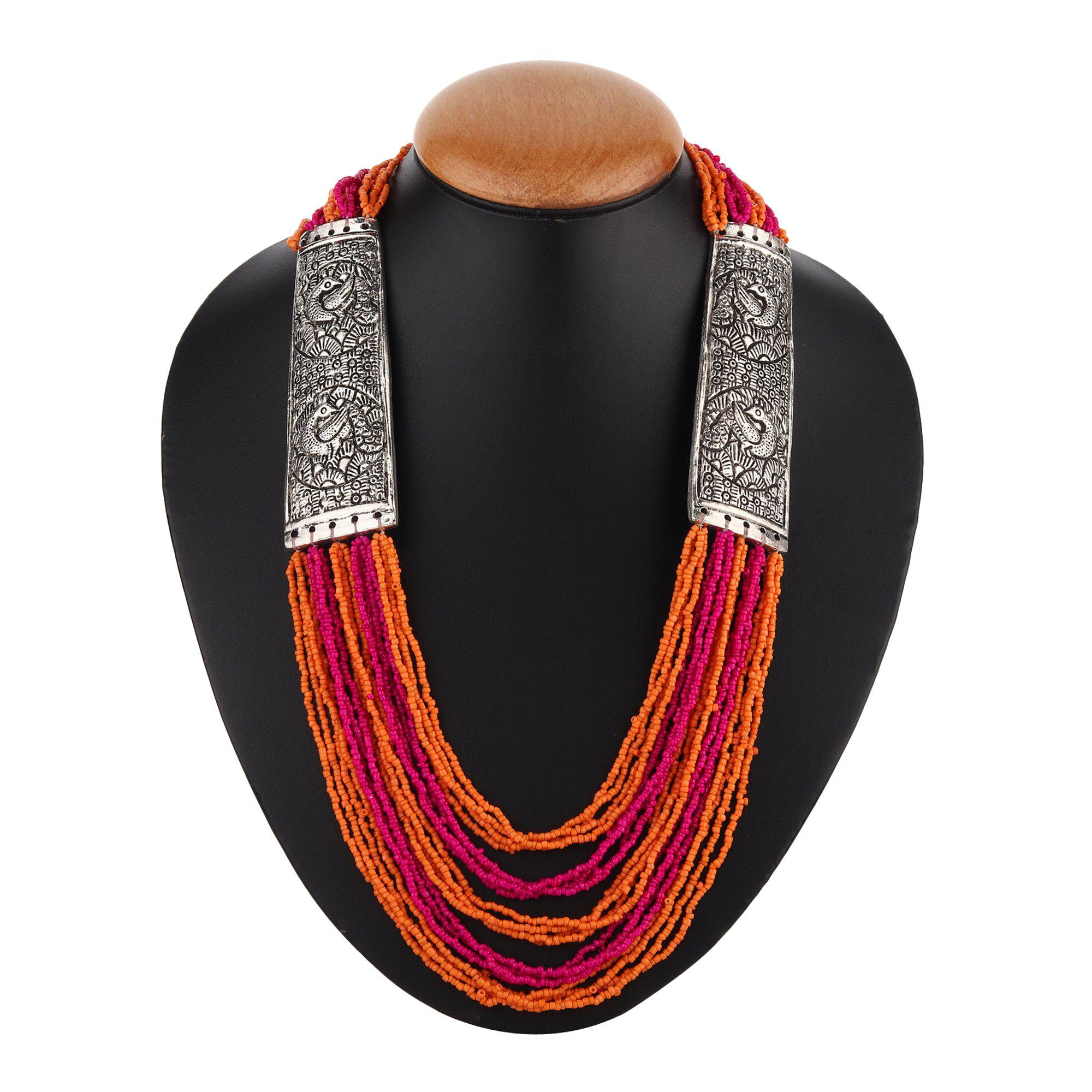 Pink And Orange Beaded Necklace