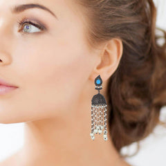 Dark Tone Chain Drop Dome Shape Earrings