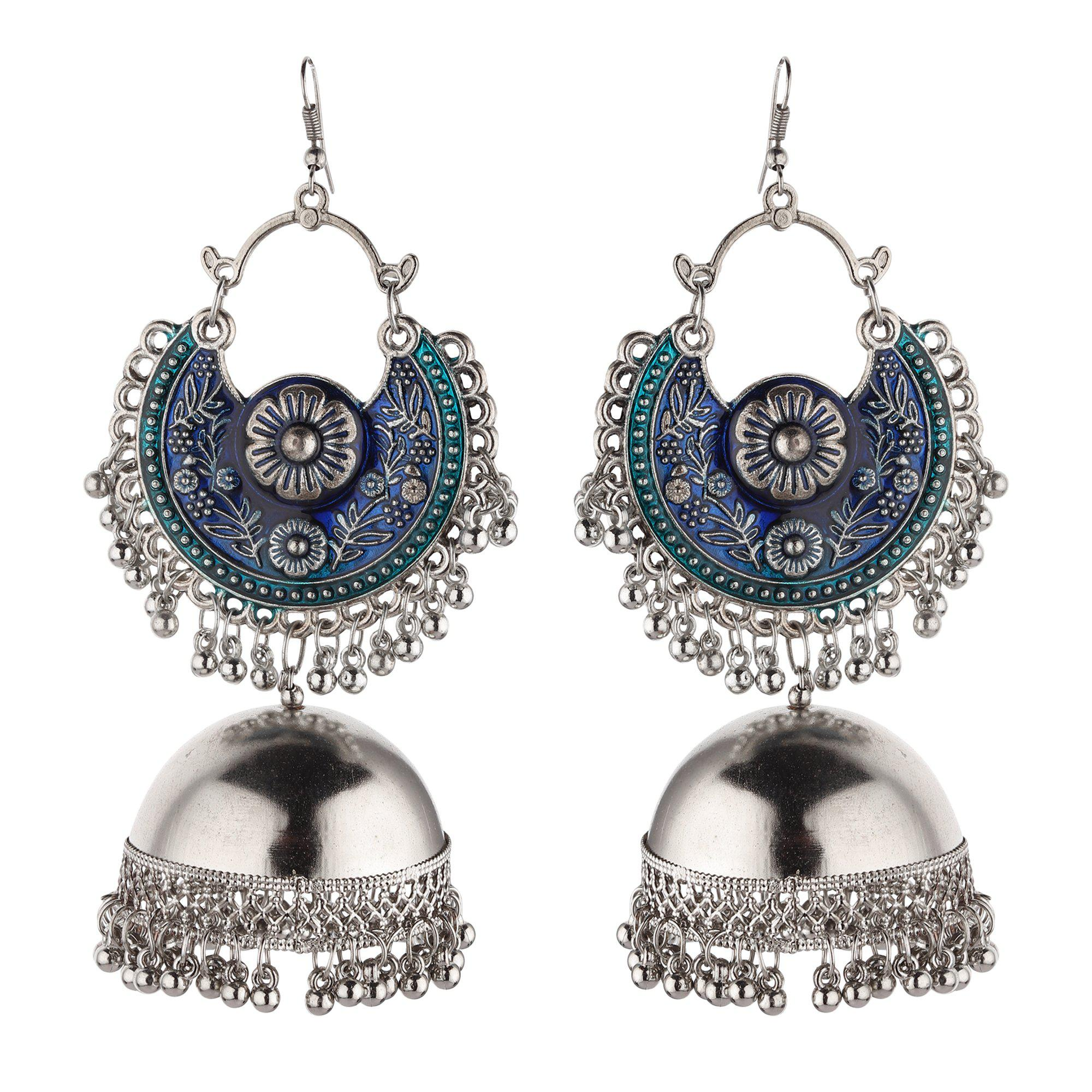 The Intricate Blue Embellished Jhumkas