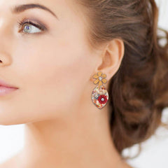 Floral Oval Shape Designer Earrings