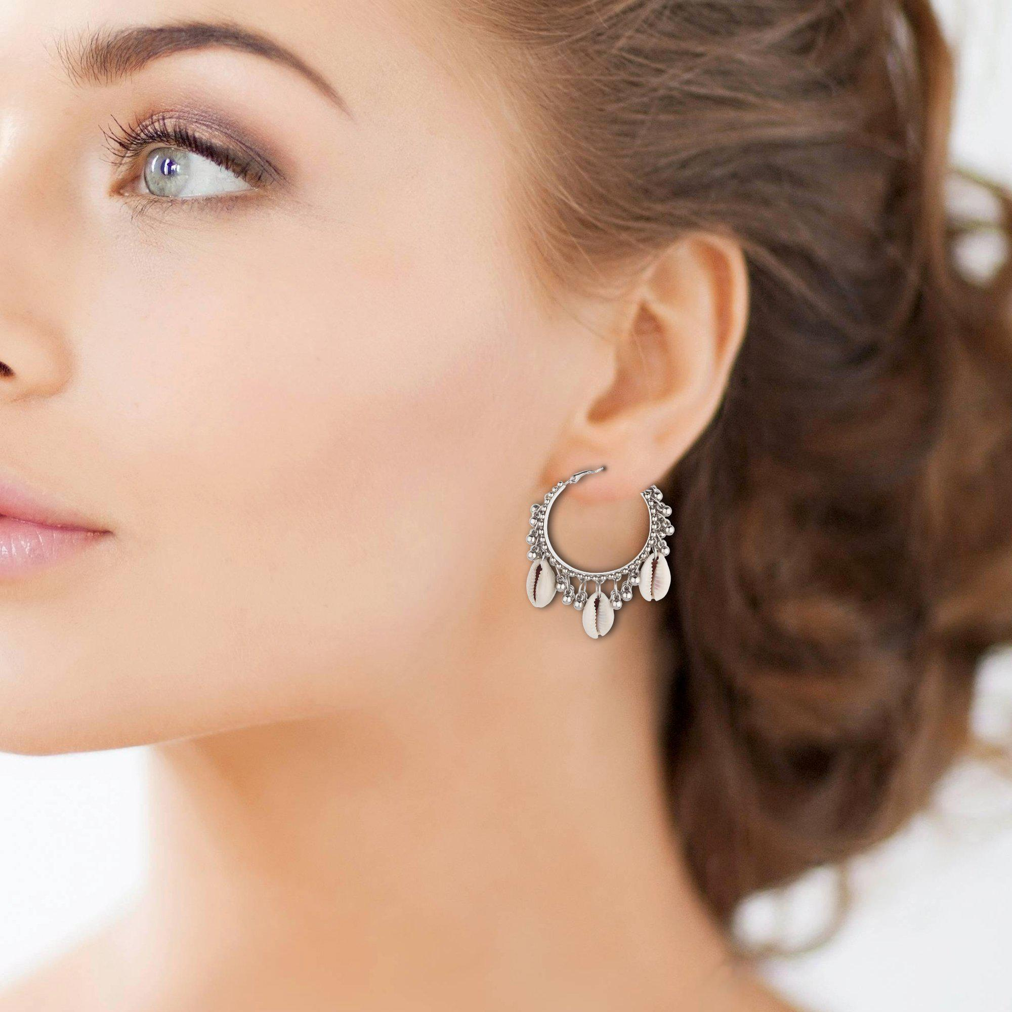 Beautiful Shell Hoops Earrings