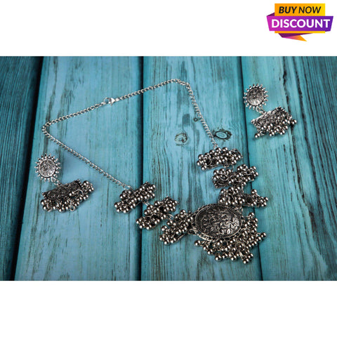 Oxcidized choker set with earrings