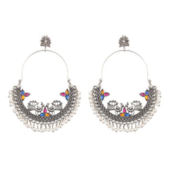 Peacock Chandbali Motif Oxidised Earrings