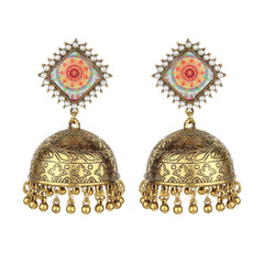 Designer Kite Dome Shape Jhumkis-Earrings-ONESKYSHOP