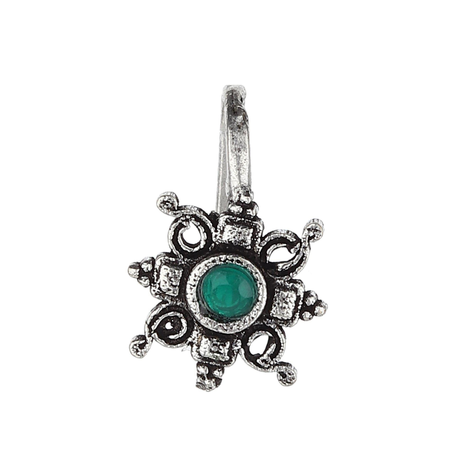Floral Designer Oxidised Nose Pin