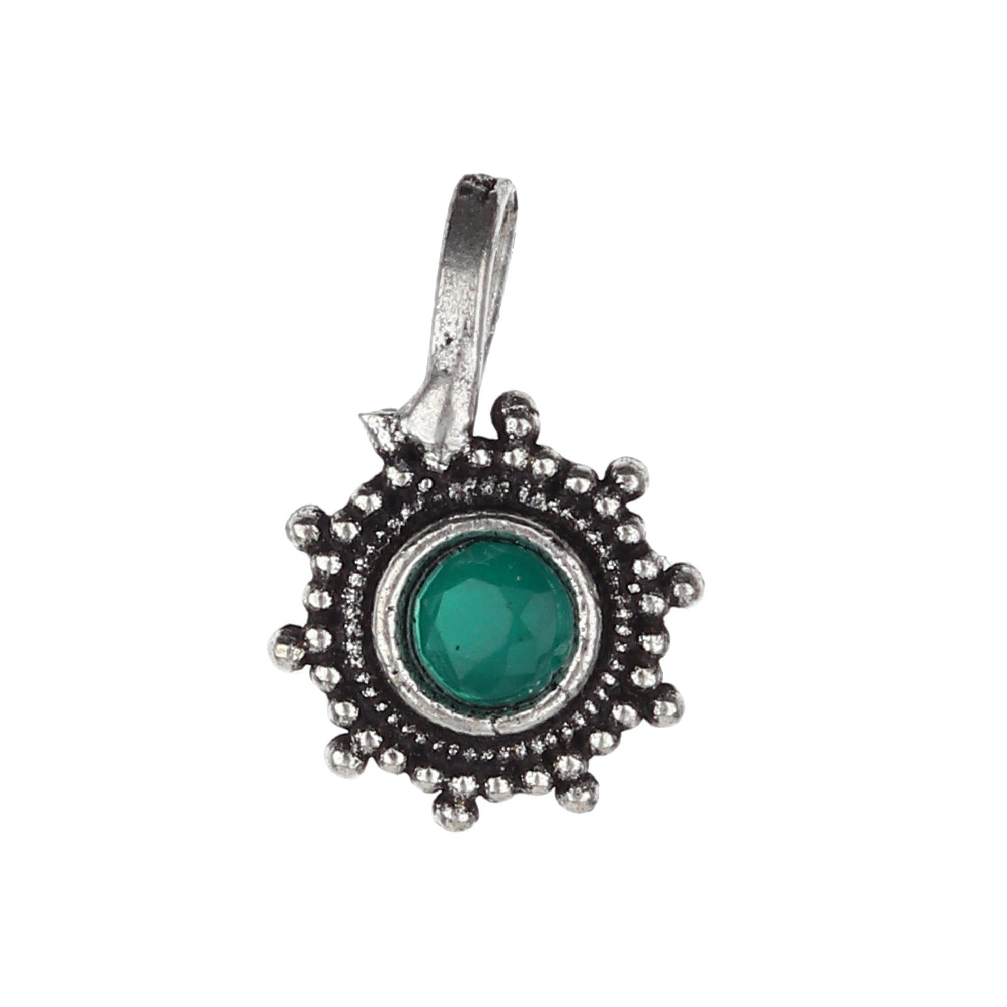 Green Stud Circle Shape Designer Oxidised Nose Pin