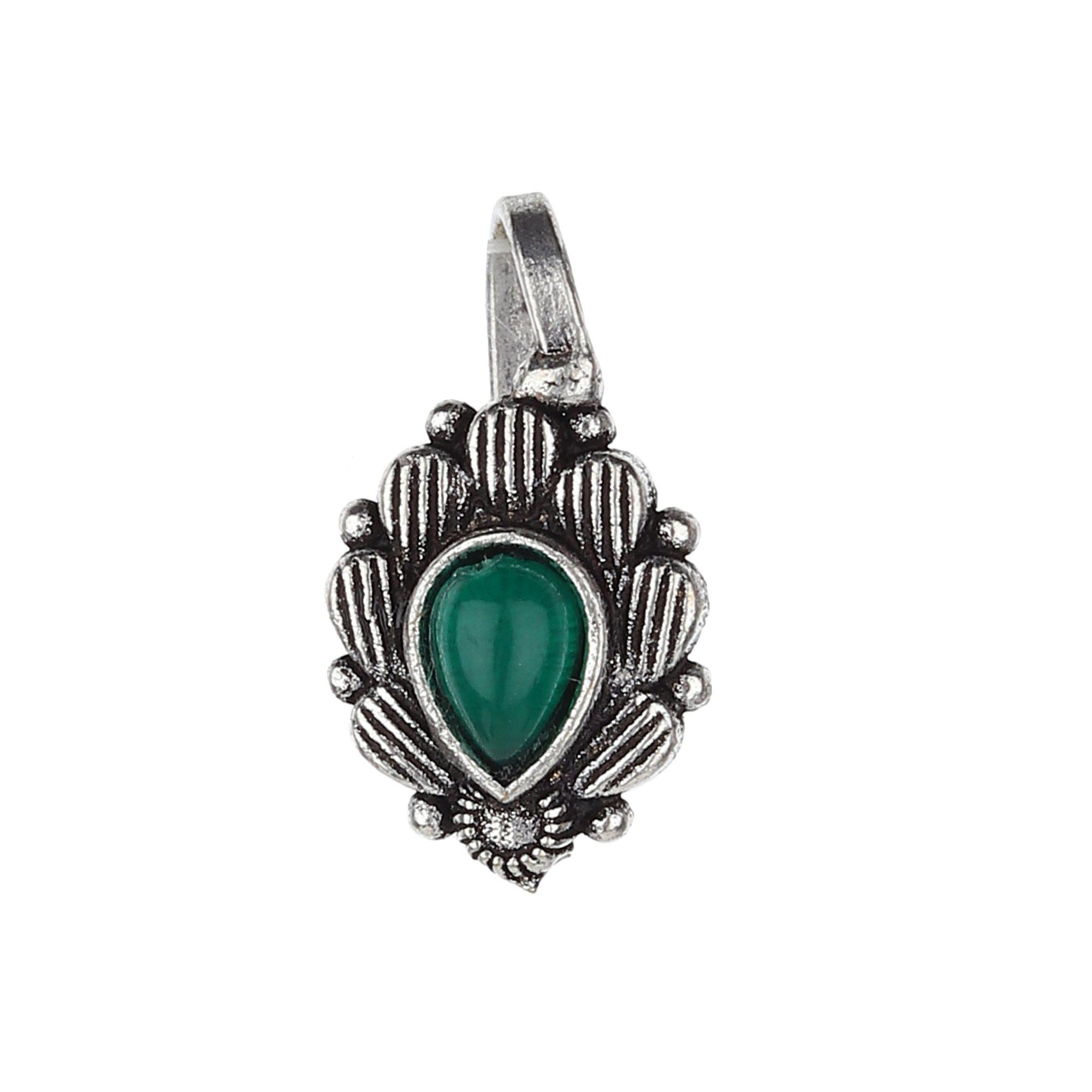 Green Stud Oval Shape Designer Oxidised Nose Pin
