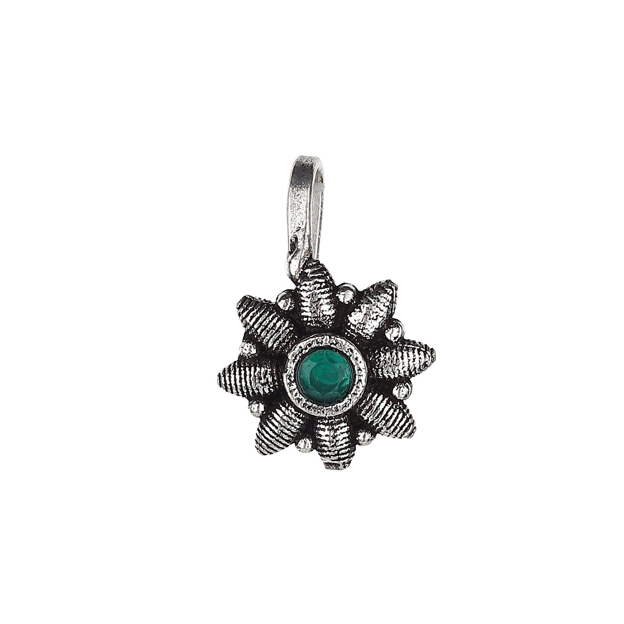 Green Stud Floral Shape Designer Oxidised Nose Pin