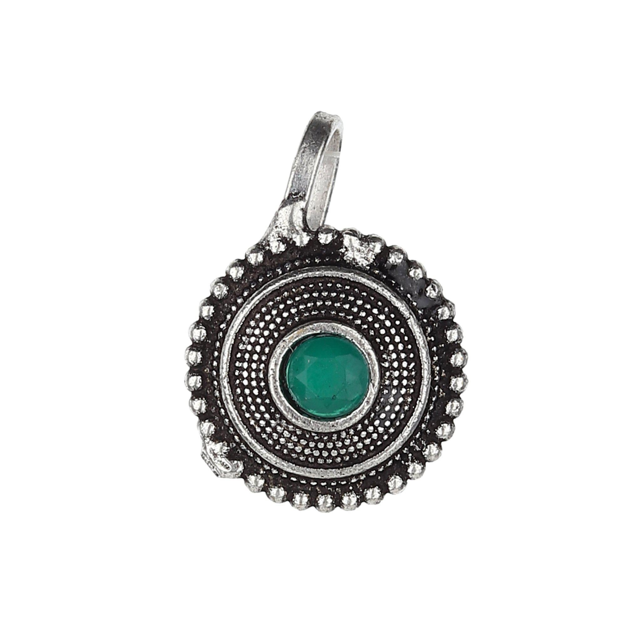 Green Stud Circle Shape Oxidised Nose Pin