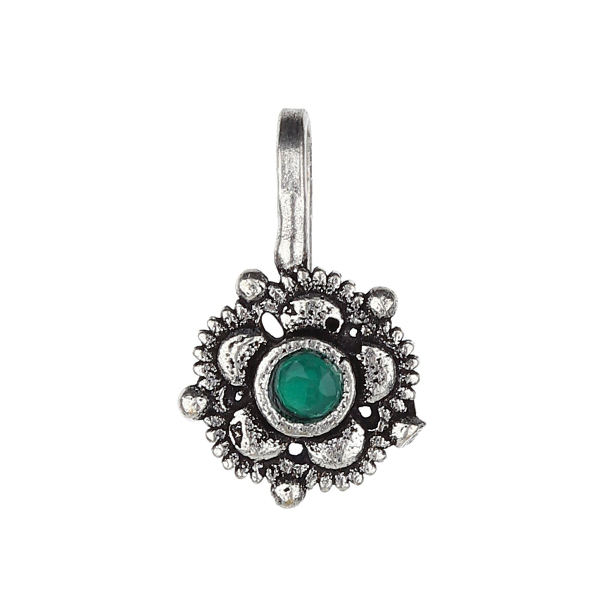 Green Stud Flower Shape Oxidised Nose Pin