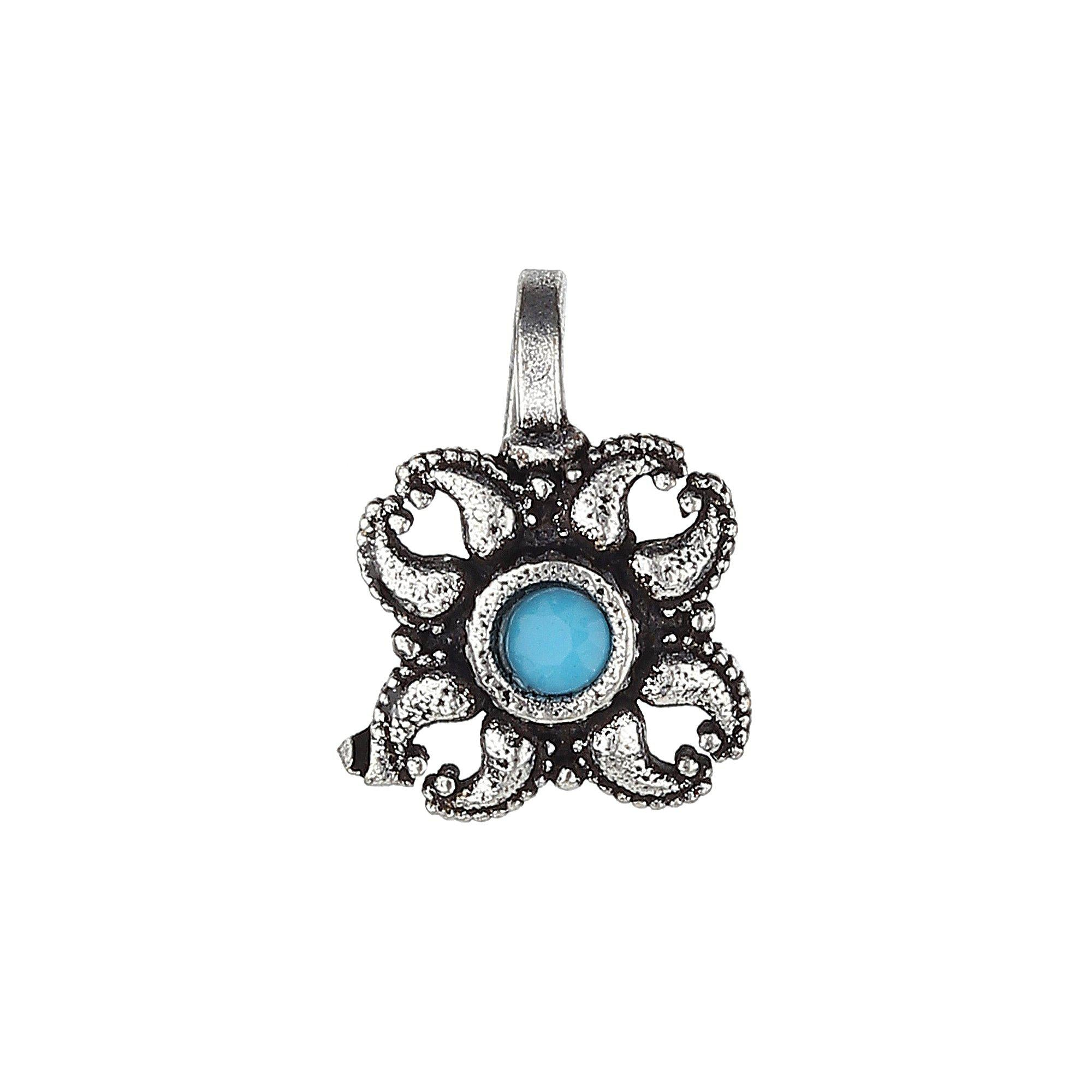 Blue Stud Ethnic Designer Oxidised Nose Pin