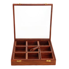Wooden Masala Box For Kitchen With Lid And Spoon