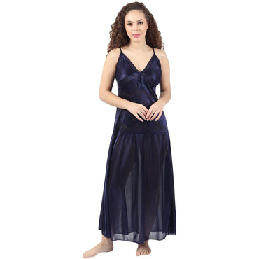 Royal Blue Night Dress With Robe