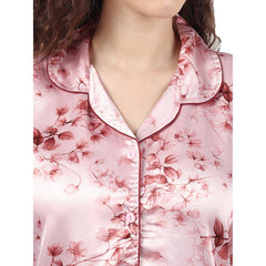 Floral Printed Pyjama Set In Silk