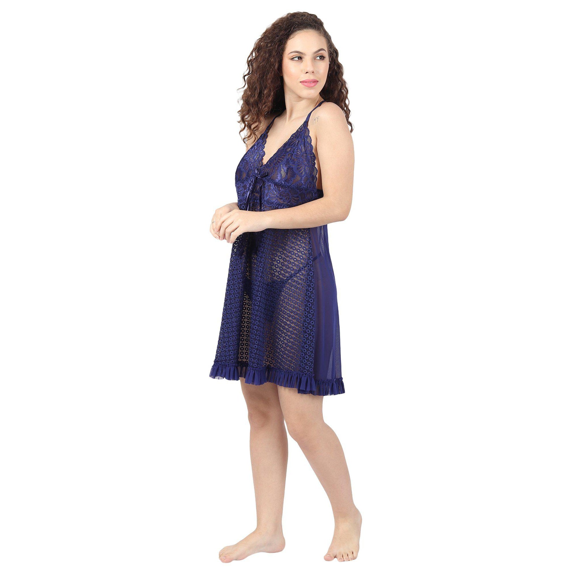 Purple Short Night Dress With Lacy Cups