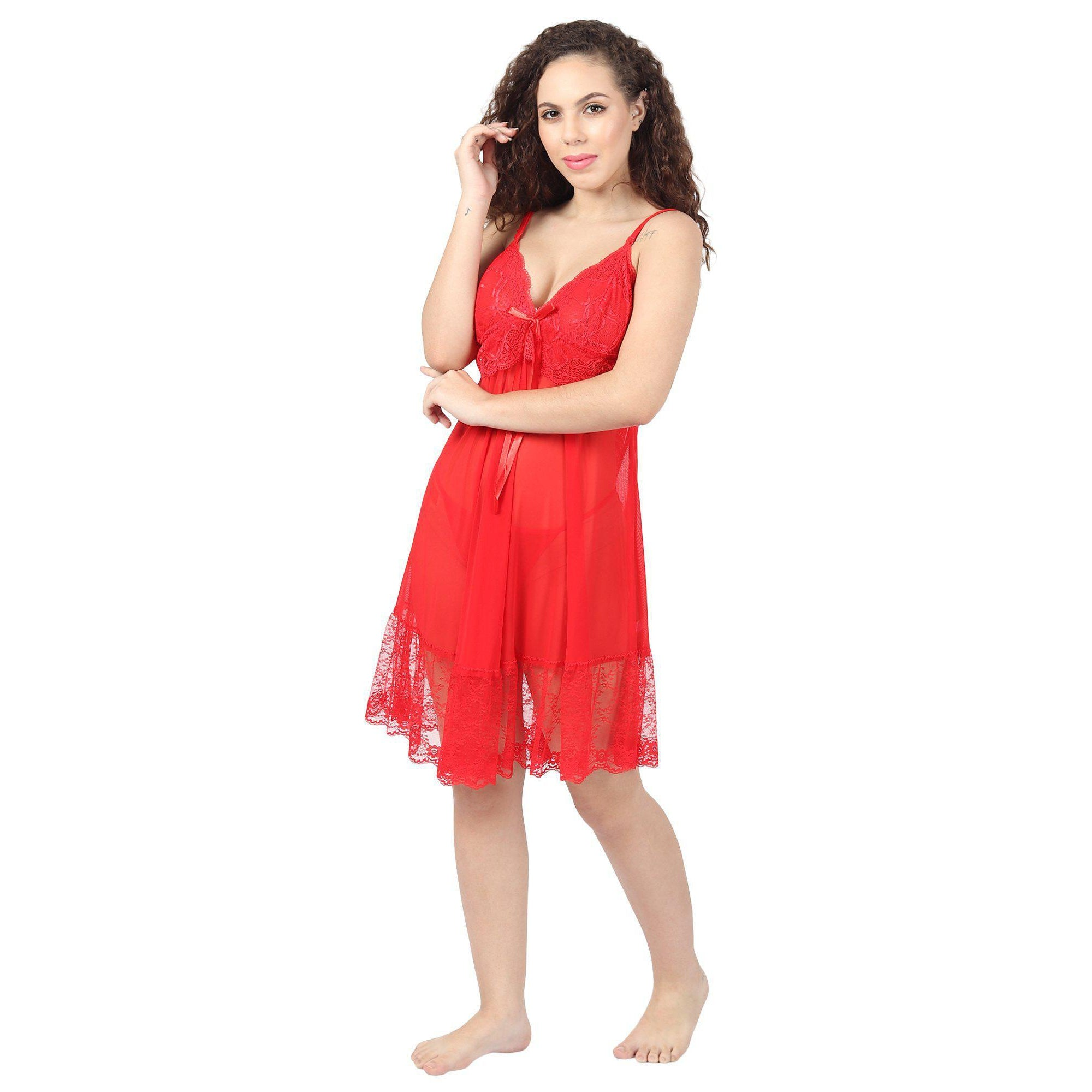 Red-Orange Short Night Dress With Lacy Cups