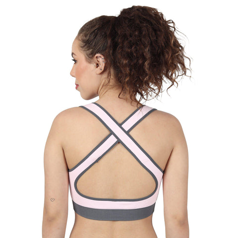 Baby Pink Non Wired Lightly Padded Sports Bra