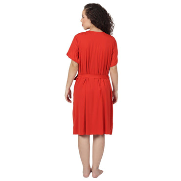 Red Solid First-Night Nighty Wear