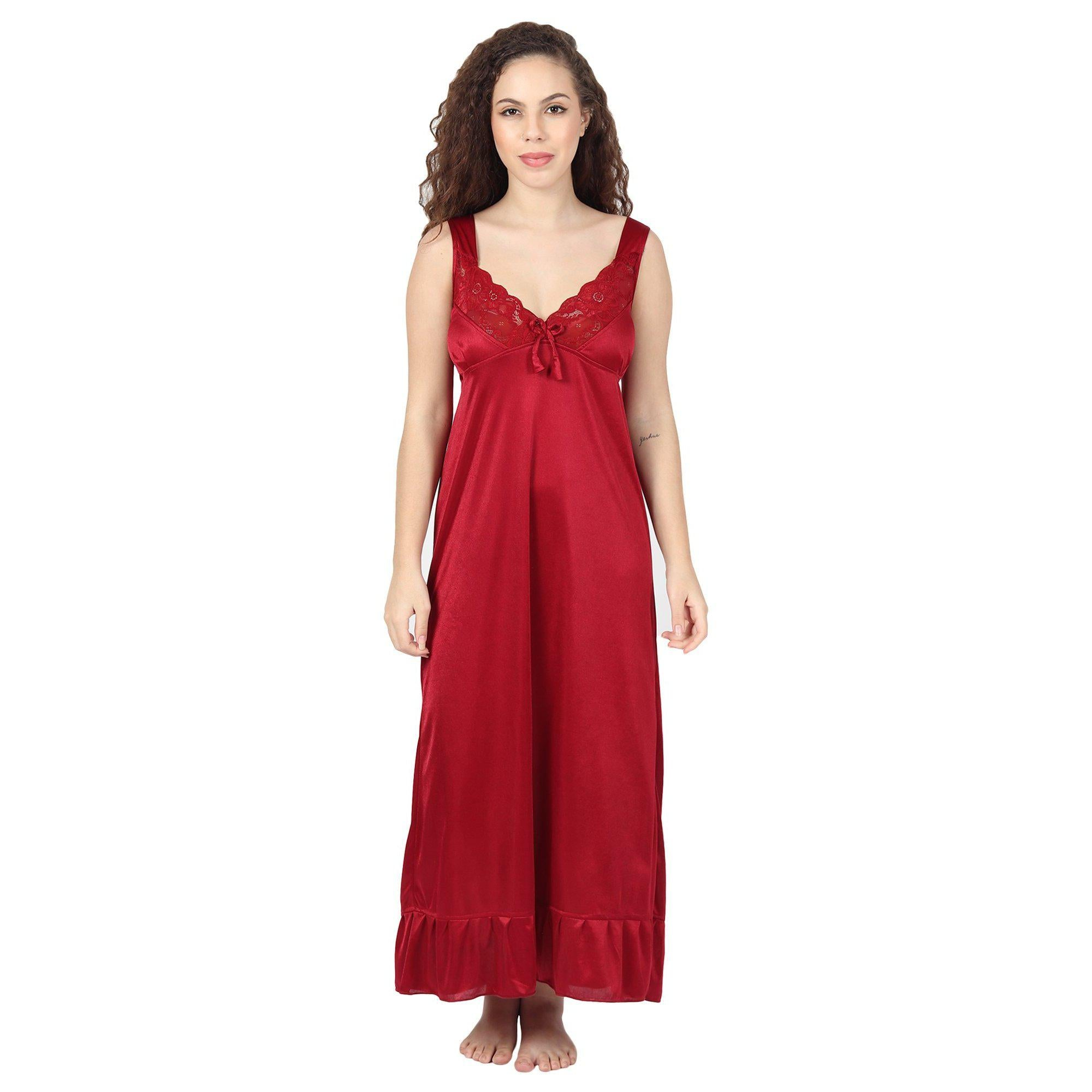 Maroon solid bridal Night Wear