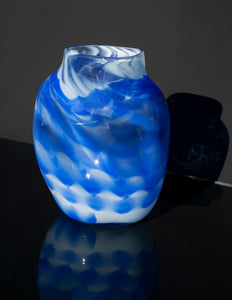 Cobalt and White Wave Vase
