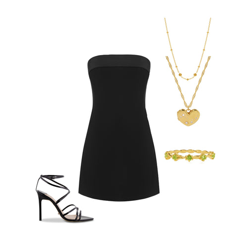 Little black dress styled outfit with George & Co jewellery