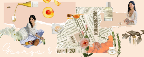 digital collage with peach aesthetic for george and co