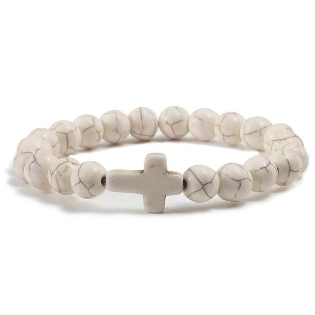 Yellow Pine Stone Cross Bracelet