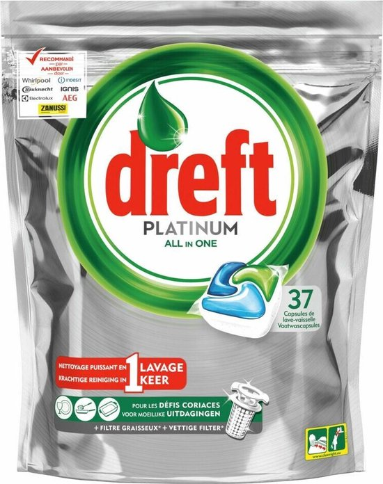 Dreft Platinum vaatwastabletten All-in-One Original 37 stuks