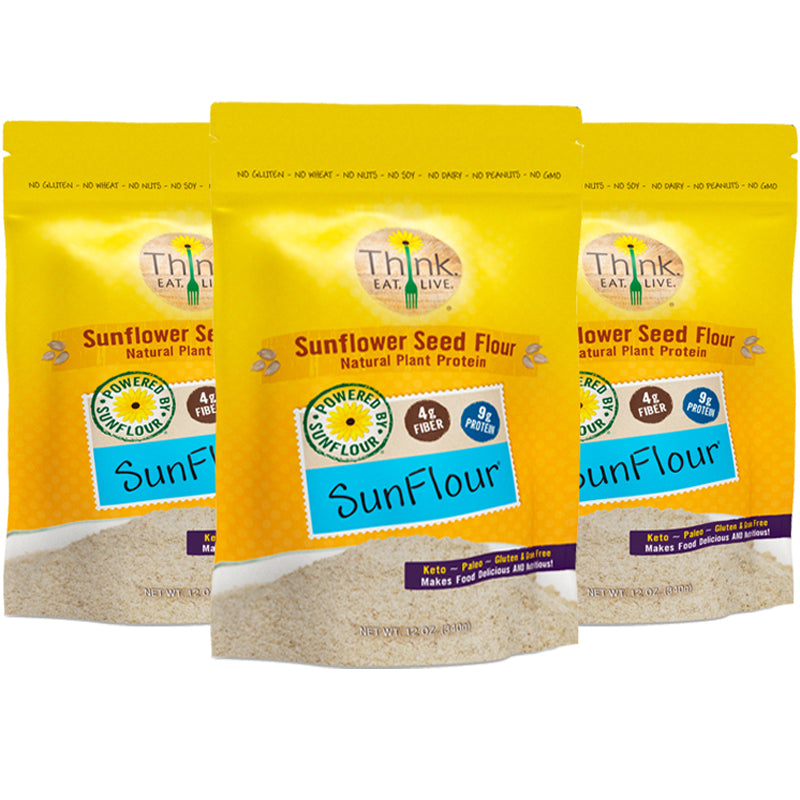#1 BEST SELLER SunFlour 3-Pack | Low Carb, High Protein | Gluten, Grain & Nut Free | Perfect for Keto, Paleo, Vegan | 3g Net Carbs