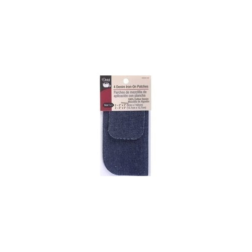 Dritz 55255-3D Denim Iron-On Patches, Dark Blue, 4-Pack