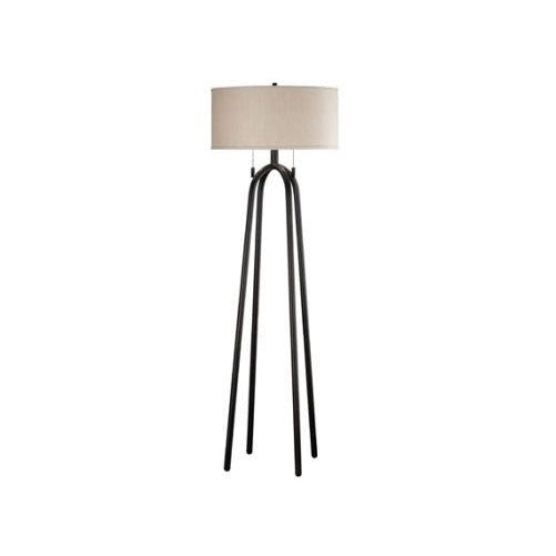 Kenroy Home Quadratic 61 Inch Floor Lamp In Oil Rubbed Bronze Finish With Tan Drum Shade