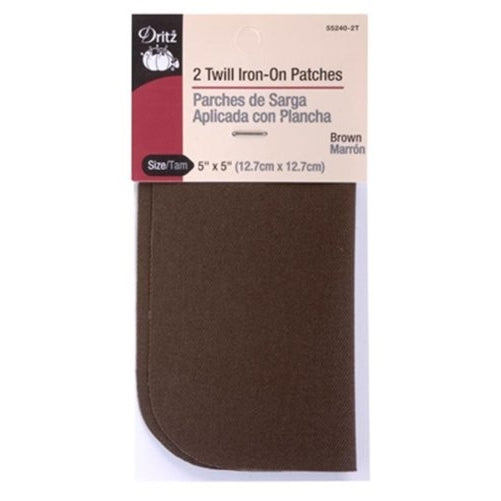 Dritz 55240-2T Twill Iron-On Patches, Brown, 5 by 5-Inch, 2-Pack