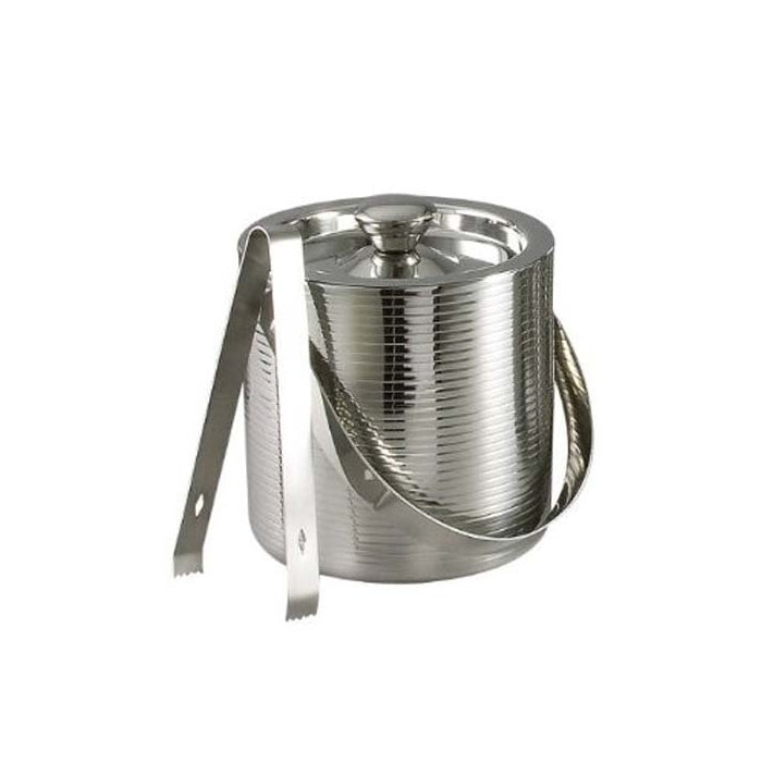 Elegance Lines 6-Inch Stainless Steel Ice Bucket With Tongs